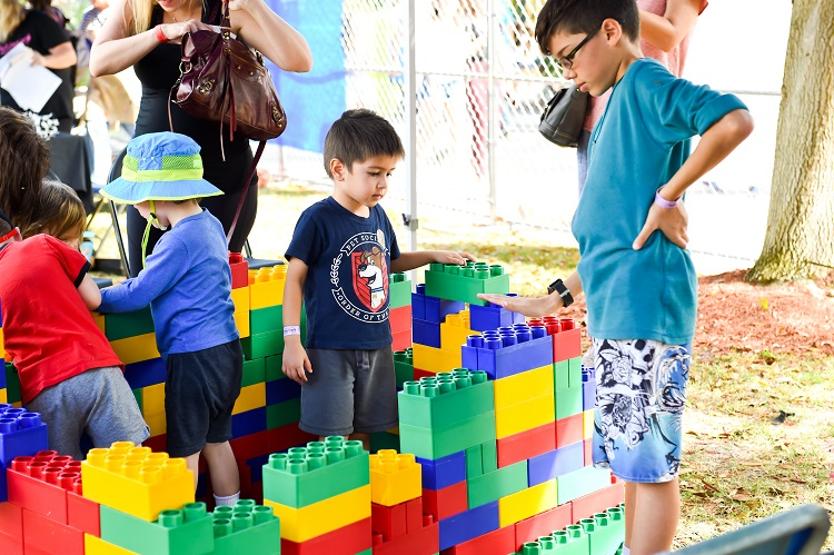 kid with legos