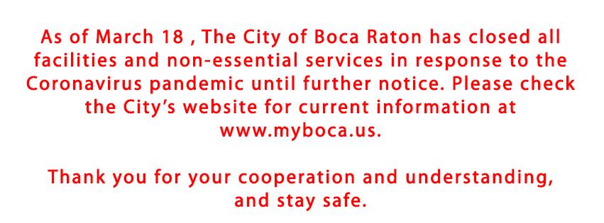 City of Boca Raton facilities closed